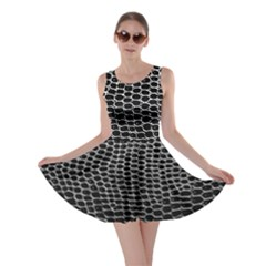 Black White Crocodile Background Skater Dress