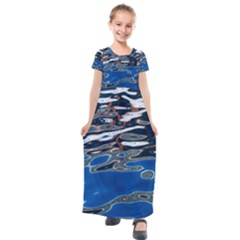Colorful Reflections In Water Kids  Short Sleeve Maxi Dress by Jojostore