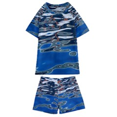 Colorful Reflections In Water Kids  Swim Tee And Shorts Set