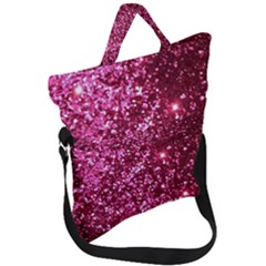 Pink Glitter Fold Over Handle Tote Bag by Jojostore