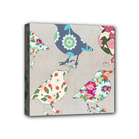 Birds Floral Pattern Wallpaper Mini Canvas 4  X 4  (stretched) by Jojostore