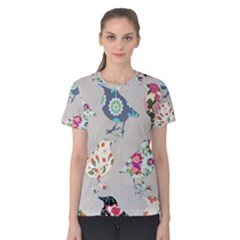 Birds Floral Pattern Wallpaper Women s Cotton Tee by Jojostore