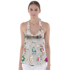 Birds Floral Pattern Wallpaper Babydoll Tankini Top