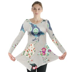 Birds Floral Pattern Wallpaper Long Sleeve Tunic