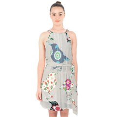 Birds Floral Pattern Wallpaper Halter Collar Waist Tie Chiffon Dress