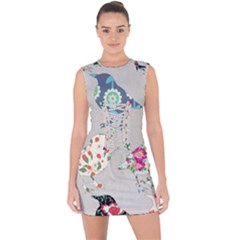 Birds Floral Pattern Wallpaper Lace Up Front Bodycon Dress