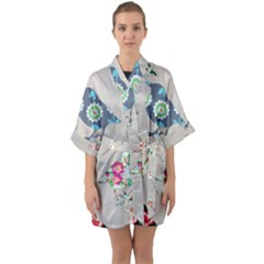 Birds Floral Pattern Wallpaper Quarter Sleeve Kimono Robe