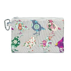 Birds Floral Pattern Wallpaper Canvas Cosmetic Bag (large) by Jojostore