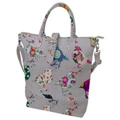 Birds Floral Pattern Wallpaper Buckle Top Tote Bag