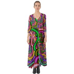 Fractal Background With Tangled Color Hoses Button Up Boho Maxi Dress