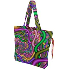 Fractal Background With Tangled Color Hoses Drawstring Tote Bag by Jojostore