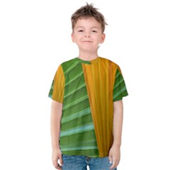 Pattern Colorful Palm Leaves Kids  Cotton Tee by Jojostore