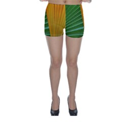 Pattern Colorful Palm Leaves Skinny Shorts