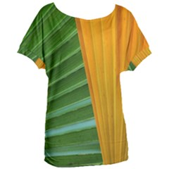 Pattern Colorful Palm Leaves Women s Oversized Tee