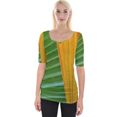 Pattern Colorful Palm Leaves Wide Neckline Tee by Jojostore