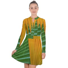 Pattern Colorful Palm Leaves Long Sleeve Panel Dress
