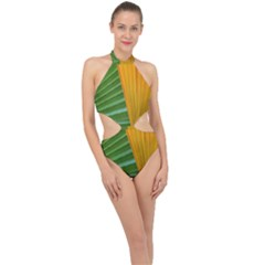 Pattern Colorful Palm Leaves Halter Side Cut Swimsuit by Jojostore