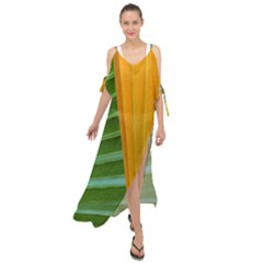 Pattern Colorful Palm Leaves Maxi Chiffon Cover Up Dress
