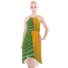 Pattern Colorful Palm Leaves High Low Halter Chiffon Dress