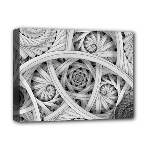 Fractal Wallpaper Black N White Chaos Deluxe Canvas 16  X 12  (stretched)  by Jojostore