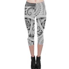 Fractal Wallpaper Black N White Chaos Capri Leggings  by Jojostore