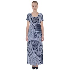 Fractal Wallpaper Black N White Chaos High Waist Short Sleeve Maxi Dress