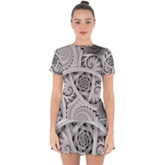 Fractal Wallpaper Black N White Chaos Drop Hem Mini Chiffon Dress