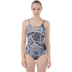 Fractal Wallpaper Black N White Chaos Cut Out Top Tankini Set by Jojostore