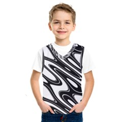 Black And White Wave Abstract Kids  Sportswear