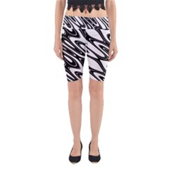Black And White Wave Abstract Yoga Cropped Leggings