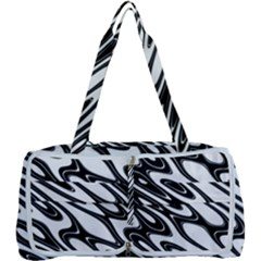 Black And White Wave Abstract Multi Function Bag