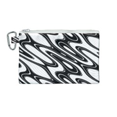 Black And White Wave Abstract Canvas Cosmetic Bag (medium) by Jojostore