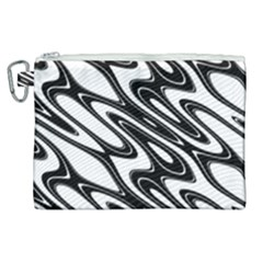 Black And White Wave Abstract Canvas Cosmetic Bag (xl)