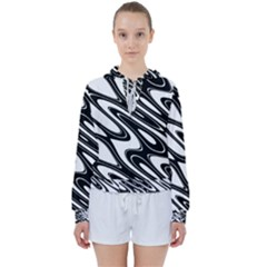 Black And White Wave Abstract Women s Tie Up Sweat