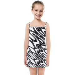 Black And White Wave Abstract Kids Summer Sun Dress