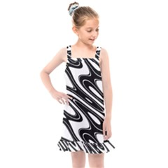 Black And White Wave Abstract Kids  Overall Dress