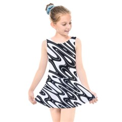 Black And White Wave Abstract Kids  Skater Dress Swimsuit