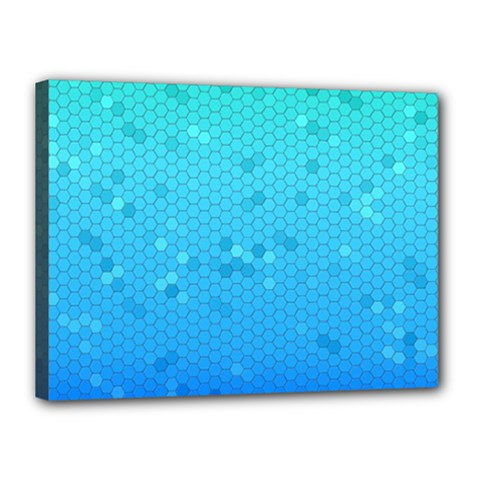 Blue Seamless Black Hexagon Pattern Canvas 16  X 12  (stretched) by Jojostore