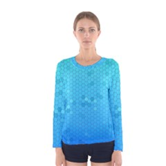 Blue Seamless Black Hexagon Pattern Women s Long Sleeve Tee