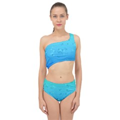 Blue Seamless Black Hexagon Pattern Spliced Up Two Piece Swimsuit