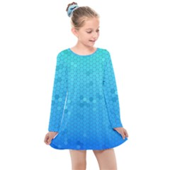 Blue Seamless Black Hexagon Pattern Kids  Long Sleeve Dress