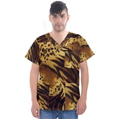 Stripes Tiger Pattern Safari Animal Print Men s V Neck Scrub Top