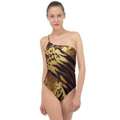 Stripes Tiger Pattern Safari Animal Print Classic One Shoulder Swimsuit