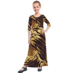 Stripes Tiger Pattern Safari Animal Print Kids  Quarter Sleeve Maxi Dress by Jojostore