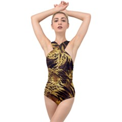 Stripes Tiger Pattern Safari Animal Print Cross Front Low Back Swimsuit