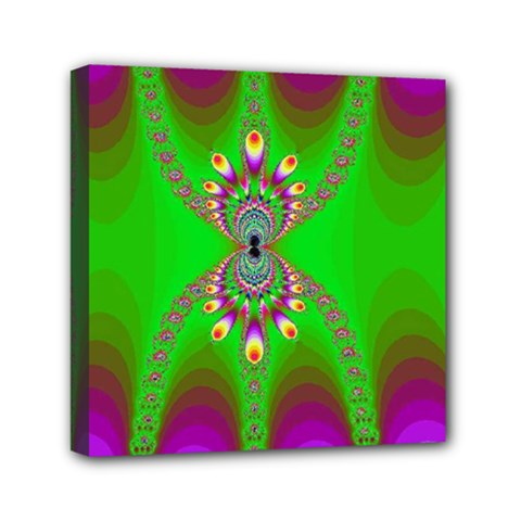 Green And Purple Fractal Mini Canvas 6  X 6  (stretched) by Jojostore