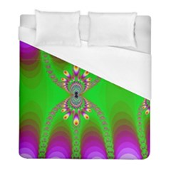 Green And Purple Fractal Duvet Cover (full/ Double Size) by Jojostore