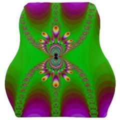 Green And Purple Fractal Car Seat Velour Cushion  by Jojostore