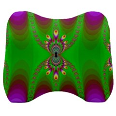 Green And Purple Fractal Velour Head Support Cushion by Jojostore