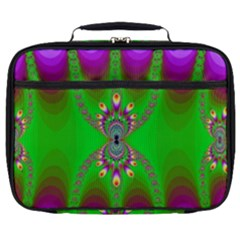 Green And Purple Fractal Full Print Lunch Bag by Jojostore